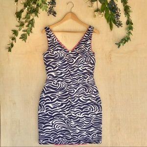 Lilly Pulitzer Blue & White Waves Sleeveless Dress